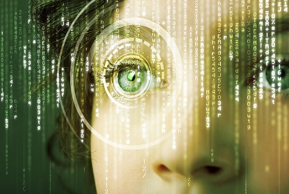Modern cyber woman with matrix eye data center world